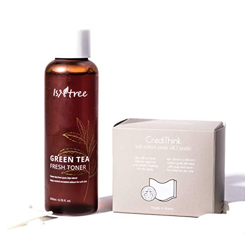 ISNTREE Green Tea Fresh Korean Hydrating Face Toner with Hyaluronic Acid for Sensitive, Oily, Dry, Acne-Prone, Skin | Deep Moisturizing Facial Moisturizer 6.76 fl. oz. with Cotton Pads Hypoallergenic