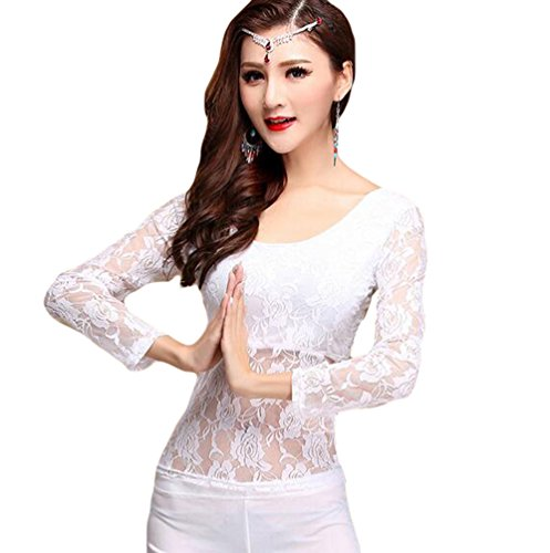 [Women Belly Dancing Costume Tops Belly Dance Lace Blouse White M] (Belly Dancing Costumes Cheap)