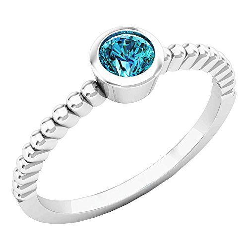 Dazzlingrock Collection 0.25 Carat (ctw) 10K Round Blue Diamond solitaire Engagement Ring 1/4 CT, White Gold, Size 7 1/4 Carat Blue Diamond Solitaire