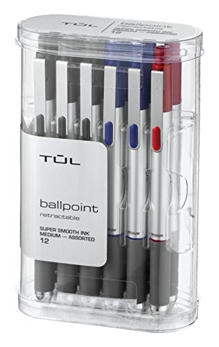 TUL BP3 Ballpoint, Retractable, Medium Point, 1.0 mm, Silver Barrel, Assorted Ink Colors, Pack Of 12
