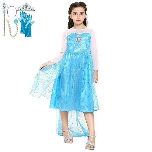 Katara 1008 Robe de Déguisement Elsa la Reine des Neiges, Costume avec Set de Princesse Frozen - Filles de 4-5 ans