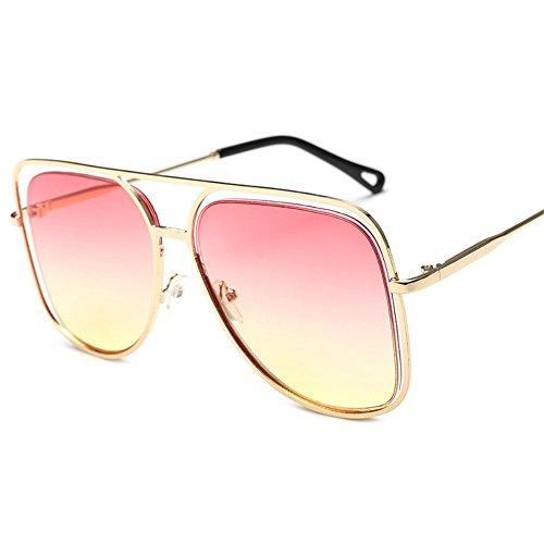 coloridas Marco metálicas individuales de sol oceánico sol gafas sol Polvo y de de color coloridas Dorado Gafas cuadrado gran sol Shop Amarillo Gafas de 6 ahuecadas gafas 4p0BxqPqwA