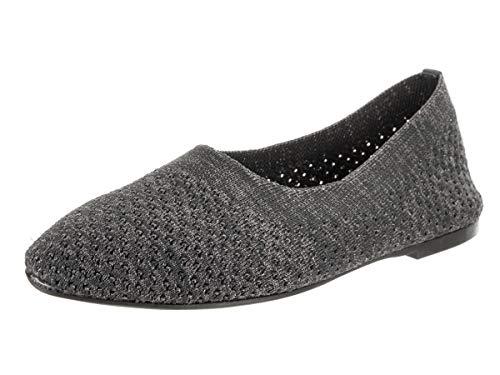 Skechers Women's Cleo-Star Daze-Metallic Engineered Knit Skimmer Ballet Flat, Charcoal/Silver, 9 M US ()