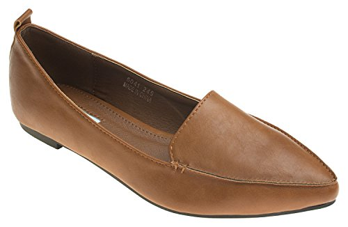 Annakastle Donna Vegano In Pelle Chic A Punta Fannullone Piano Slip On Scarpe Marrone Chiaro