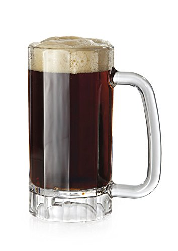 16 oz. Plastic Beer Mugs with Handles Reusable Dishwasher Safe Plastic for Indoor / Outdoor Use, BPA Free San, by GET 00086-1-SAN-CL-EC (Pack of 4)