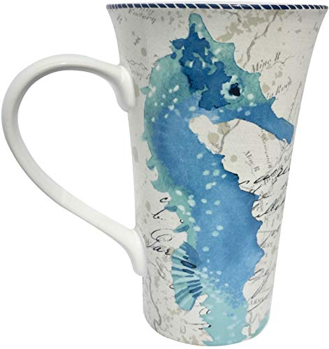 222 Fifth Tall Latte Coffee Mug 26 Ounce Porcelain China Under The Sea Nautical Map Pattern (Blue Seahorse)