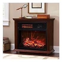 Large Room Electric Quartz Infrared Fireplace Heater Deluxe Mantel Dark Walnut