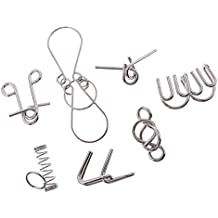 MonkeyJack 7pcs/set Metal Wire Puzzle Brain Teser Magic Rings Puzzle for Children Adults Students Toy Gift