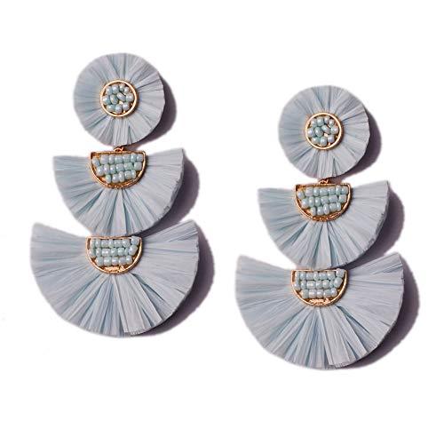 - L&N Rainbery Bohemian Handmade Drop Earrings Fashion Beaded Raffia Palm Earrings for Women Tiered Dangle Statement Earrings (Mint Blue)