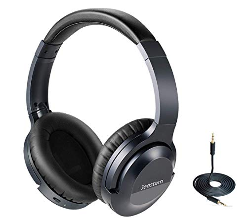 Jeestam Active Noise Cancelling Wired/Wireless Bluetooth Headphones with Microphone, Comfortable Protein Earpads Rotatable, Over Ear Headset Hi-Fi Stereo Deep Bass for Travel Work PC TV Phone (Black)