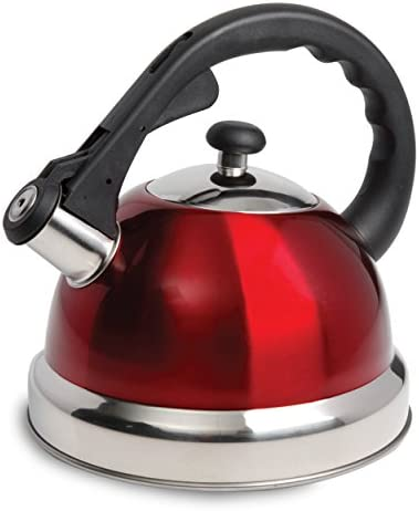 Mr Coffee Claredale 2.2 Qt Whistling Tea Kettle-Red, Quarts