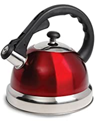 Mr Coffee Claredale Stainless Steel Whistling Tea Kettle, 2.2 Quarts, Red