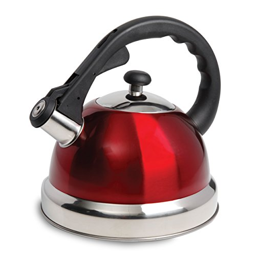 Mr. Coffee Claredale Stainless Steel Whistling Tea Kettle, 2.2-Quart, Red