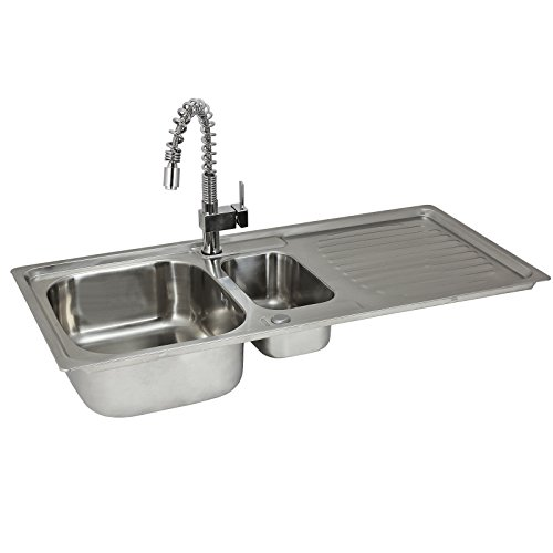 Kitchen Sink 1.5 Bowl Stainless Steel Kitchen Sinks Reversible With Free Designer Tap & Waste Kit by (Bowl Reversible Kitchen Sink)