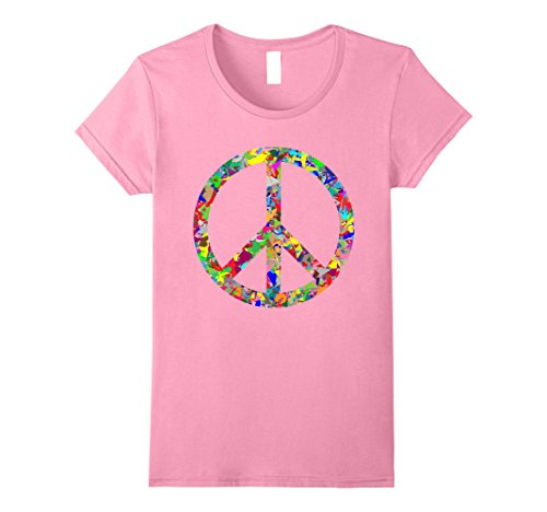 Womens Peace Sign T Shirt Small Pink
