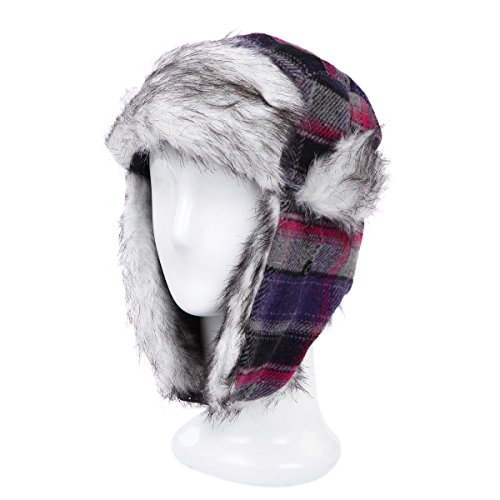 Warm Winter Plaid Faux Fur Trapper Ski Snowboard Hunter Bomber Hat, Grey/Purple