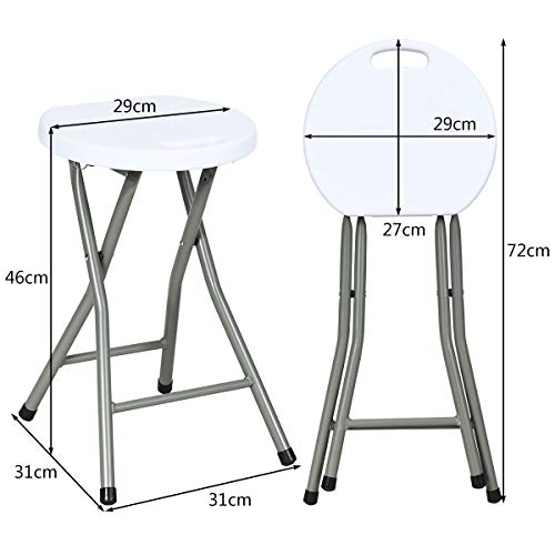 COSTWAY Set of 2 Folding Stool Carry Handle 100KG Capacity Portable Plastic Foldable Chairs with Steel Pipe Legs for Indoor or Outdoor Garden Weather Impact Resistant and Non-Slip Foot Pads 46CM
