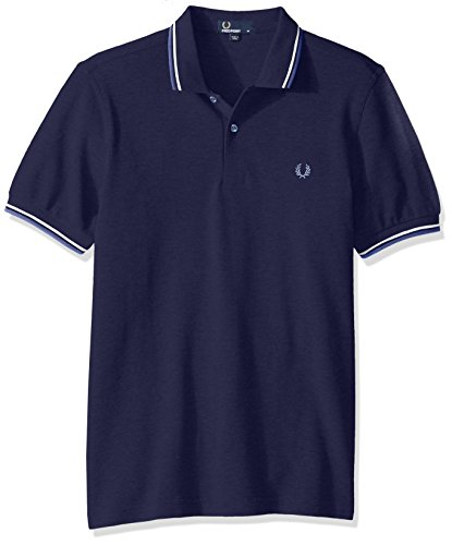 Fred Perry Men's Twin Tipped Polo Shirt, Carbon Blue/ECRU/Dusk, X-Small