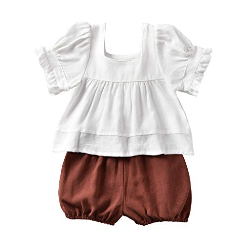 - Newborn Infant Toddler Baby Girl 100% Linen Outfit Little Girls Blouse Tank Tops + Short Pants Summer Clothes(White, 0-6M)