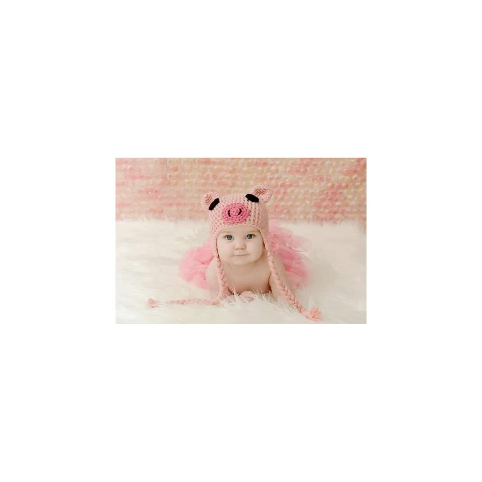 Newborn Toddler Crochet Piggy Pig Hat in Pink Baby Girl Boy Shower Party Costume Photo Props 0 12 Month