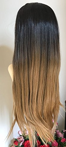 Black And Blonde Wig (24 Inches Straight Half Head Wig Long OMBRE Black Blonde (Natural black to honey blonde))