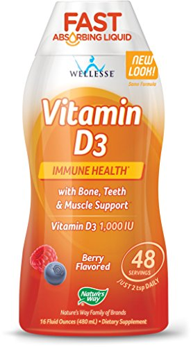 Wellesse Vitamin D3 Liquid 1000 IU, Natural Berry Flavor, 16 ounce Bottle (Pack of 3) -