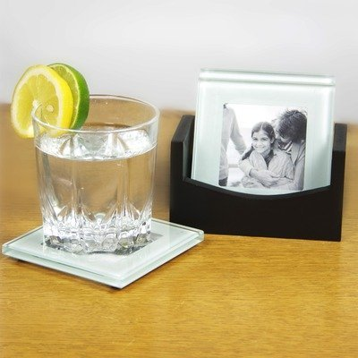 Jay Import Fifth Avenue Crystal Glass Photo Coasters with...