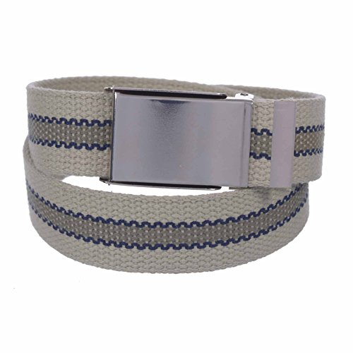 Sunny Belt Unisex Kids 1 ¼ Inch Wide Cut To Fit Reversible Canvas Web Belt Sniny Nickel Buckle