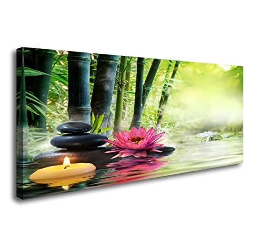 Cao Gen Decor Art-H41450 Canvas Art Zen Canvas Prints Spa Wall Decor 1 Panel Artwork Modern Pictures Framed for Home Decor - Spa Massage Treatment Safflower Water Lily Bamboo Black -