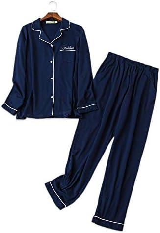 パジャマ CHJMJP シンプルなパジャマ男性のパジャマは綿100%の冬の長い袖パジャマデイリーウェア男性Pijamasを設定します。 (Color : Men grey, Size : XL)