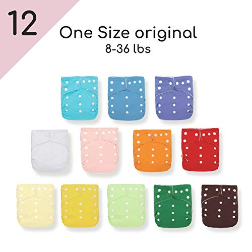 Warm Color KaWaii 6 Ultra Soft One Size Cloth Diapers+12 Inserts for Newborn to Toddler