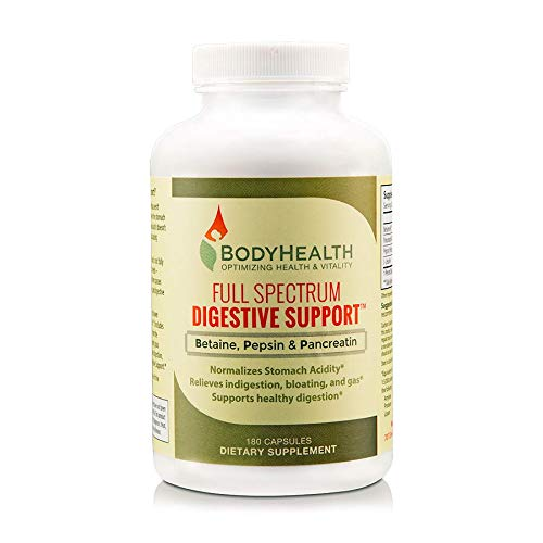 Bodyhealth Full Spectrum Digestive Support (180 Caps), Betaine, Pepsin & Pancreatin BPP B P P, Digestive Enzymes, Probiotics, Relief for Stomach Bloating, Heartburn, Gas, Constipation & Indigestion