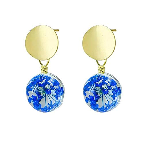 i&D Jewelry Gold Plated Real Flower Earrings Pink Pressed Flowers Dangle Dry Flower Drop Earrings Bridesmaid Gift (Blue)