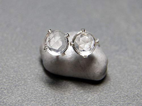 - 5mm Faceted Rock Quartz Crystal and Sterling Silver Post Earrings