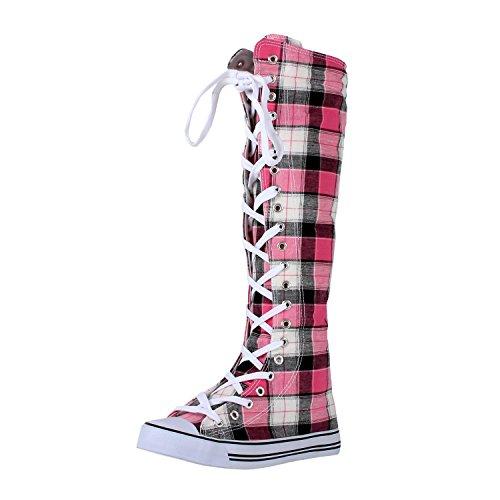 West Blvd Womens Sneaker Kniehohe Schnürstiefel Rosa kariertes Canvas-wb