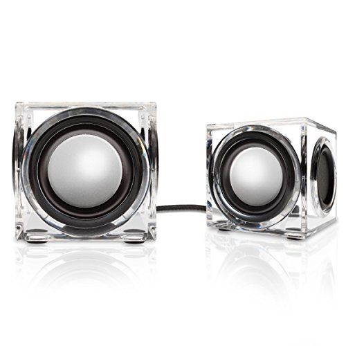 GOgroove Clear Acrylic 2.0 Stereo USB Powered Wired PC Speakers SonaVERSE CRS - AUX 3.5mm Input with 1.5