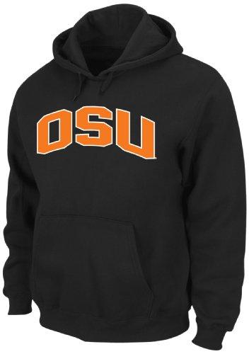 NCAA Oklahoma State Cowboys Gameday Battle Black Long Sleeve Hooded Fleece Pullover By Majestic, Black, Large (Majestic Athletic Hooded Fleece)