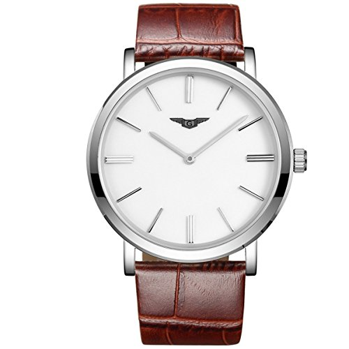 GUANQIN Fashion Formal Brand Men Analogue Waterproof Quartz Ultra Thin Stainless Steel and Leather Simple Wrist Watch Silver White Brown