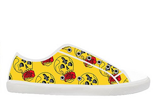 Womens Canvas Low Top Shoes with Day of the Dead Theme Canvas Women Shoes02 y08ibfEvL