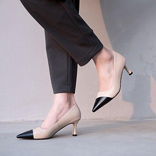 35 Zapatos zapatos AJUNR Moda cabeza y mujer zapatos beige 7 Treinta elegante tacon Solo alto cm de Sandalias de Transpirable nueve tacones alargada fina SagqS