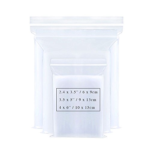 Small Ziplock Poly Bags 3 Sizes 300pcs Assorted Resealable Plastic Zipper Bags for Jewelry Beads Candy 2.4 x 3.5/3.5 x 5/4 x 6 Inch 2 Mil Clear