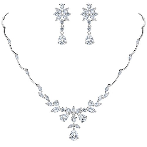Marquise White Charms (BriLove Women's Wedding Bridal Cubic Zirconia Marquise Shaped Flower Leaf Teardrop Y-Necklace Dangle Earrings Set)