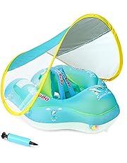 عوامة اطفال قابلة للنفخ على شكل حلقة مع مظلة شمسية قابلة للازالة مثالية لتدريب الأطفال الصغار على السباحة