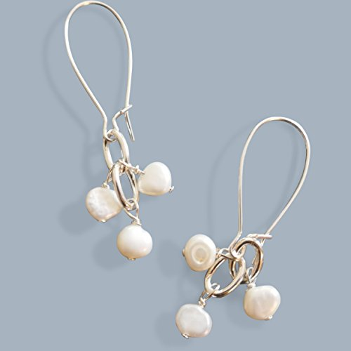 White Pearl Cluster Lightweight Womens Silver Tone Drop Earrings Beads by Bettina