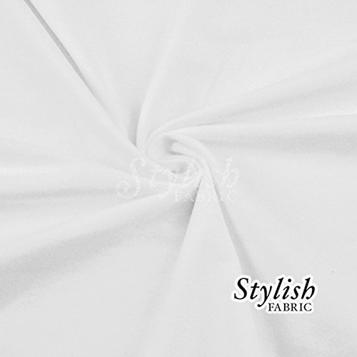 White Cotton Lycra Jersey Knit Fabric Combed 10oz - 1 Yard (White Jersey Knit Cotton)