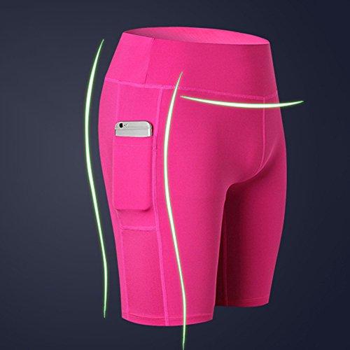 slim Pantaloncini Active allenamento da da shapewear corsa Mxssi Rosa alta donna a da Pantaloncini ciclismo da yoga vita da palestra TCdqvwSCx