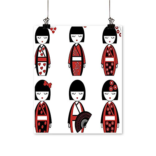 Artwork for Office Decorations Unique Japan Geisha Dolls Costum Outfits Hair Sticks Kim Image Bl Canvas Living Room,12