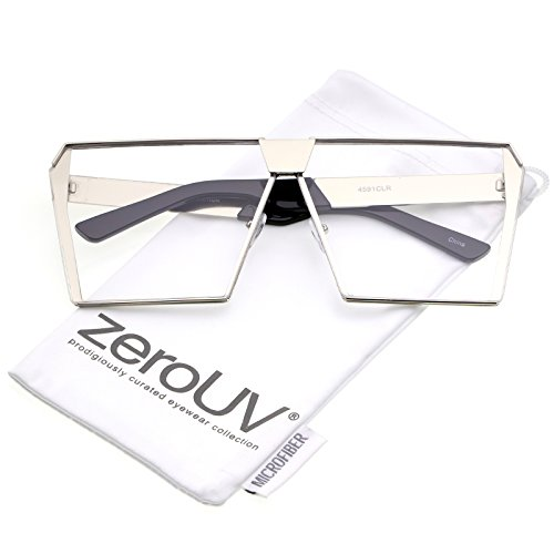 zeroUV - Modern Oversize Semi Rimless Clear Flat Lens Square Eyeglasses 69mm (Silver / - Eyeglasses For Women Square