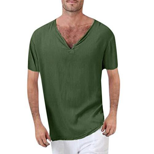 YKARITIANNA Men's Vintage Baggy Cotton Linen Solid Short Sleeve Retro T Shirts Tops Blouse Green