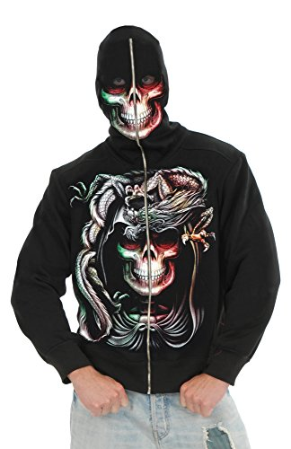 Charades Men's Serpent Skull Hoodie Costume, Black Large